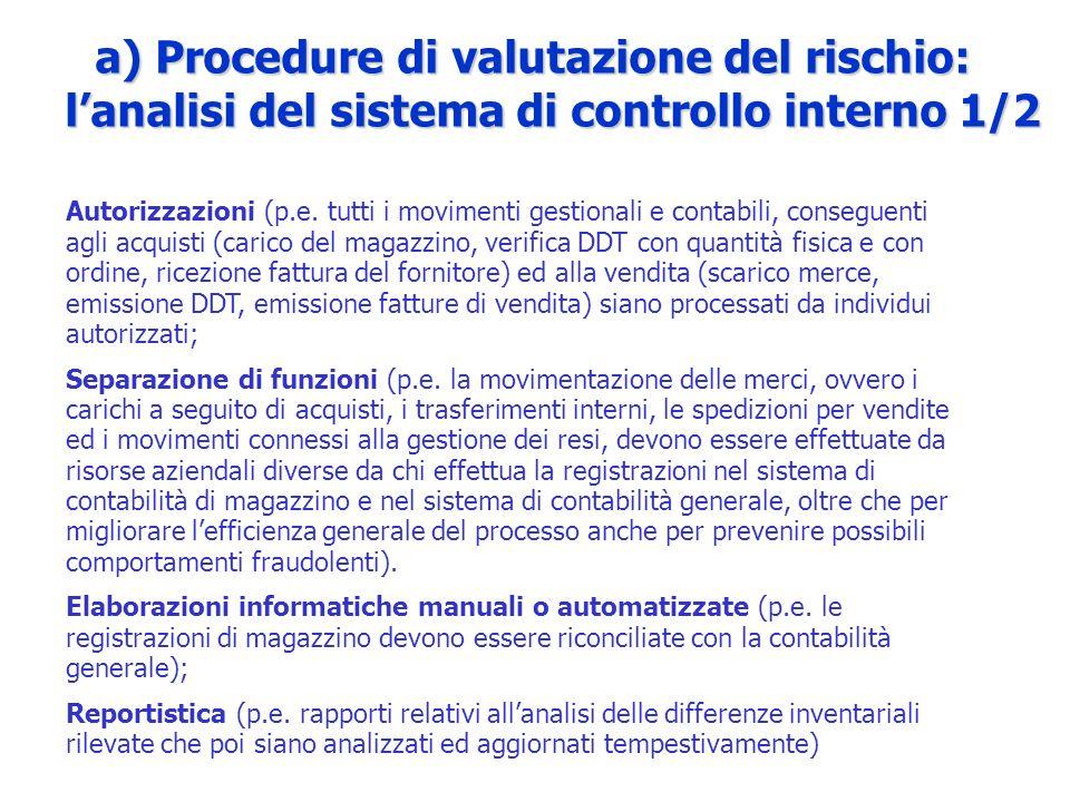 a) Procedure di valutazione del rischio: lanalisi del sistema di controllo interno 1/2 Autorizzazioni (p.e. tutti i movimenti gestionali e contabili,