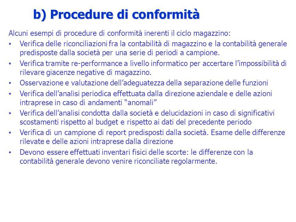 Alcuni esempi di procedure di conformità inerenti il ciclo magazzino: Verifica delle riconciliazioni fra la contabilità di magazzino e la contabilità