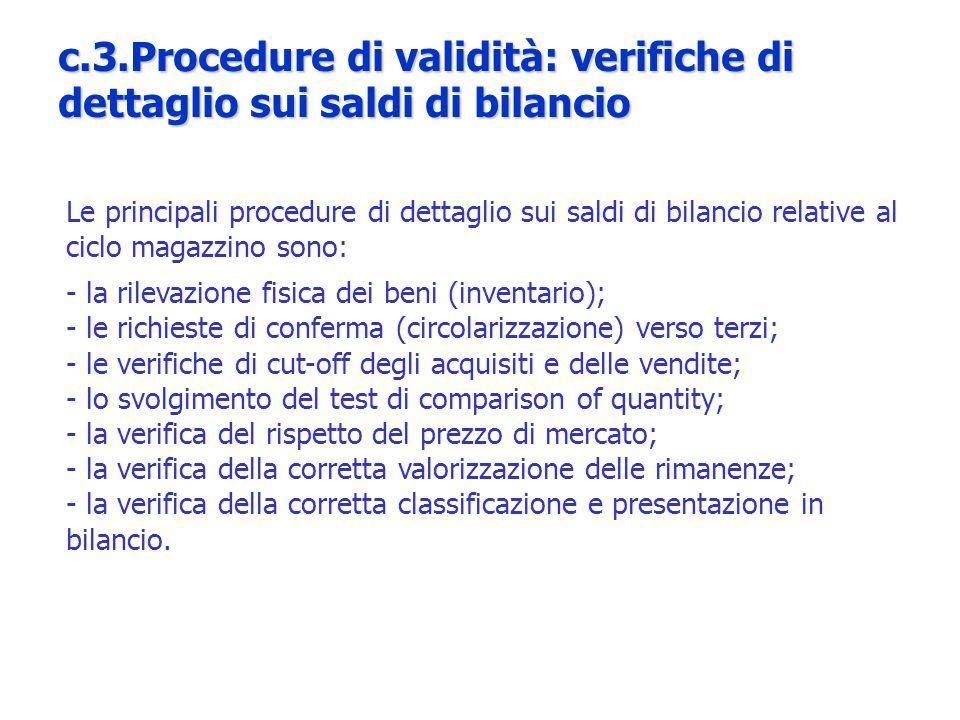 Le principali procedure di dettaglio sui saldi di bilancio relative al ciclo magazzino sono: - la rilevazione fisica dei beni (inventario); - le richi