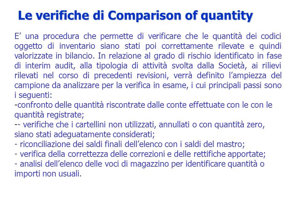 E una procedura che permette di verificare che le quantità dei codici oggetto di inventario siano stati poi correttamente rilevate e quindi valorizzat