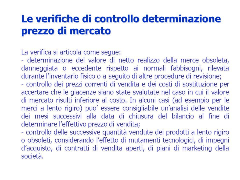 La verifica si articola come segue: - determinazione del valore di netto realizzo della merce obsoleta, danneggiata o eccedente rispetto ai normali fa