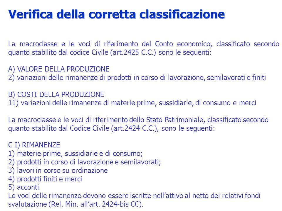 La macroclasse e le voci di riferimento del Conto economico, classificato secondo quanto stabilito dal codice Civile (art.2425 C.C.) sono le seguenti: