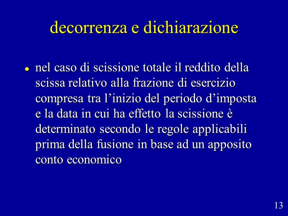 decorrenza e dichiarazione nel caso di scissione totale il reddito della scissa relativo alla frazione di esercizio compresa tra linizio del periodo d