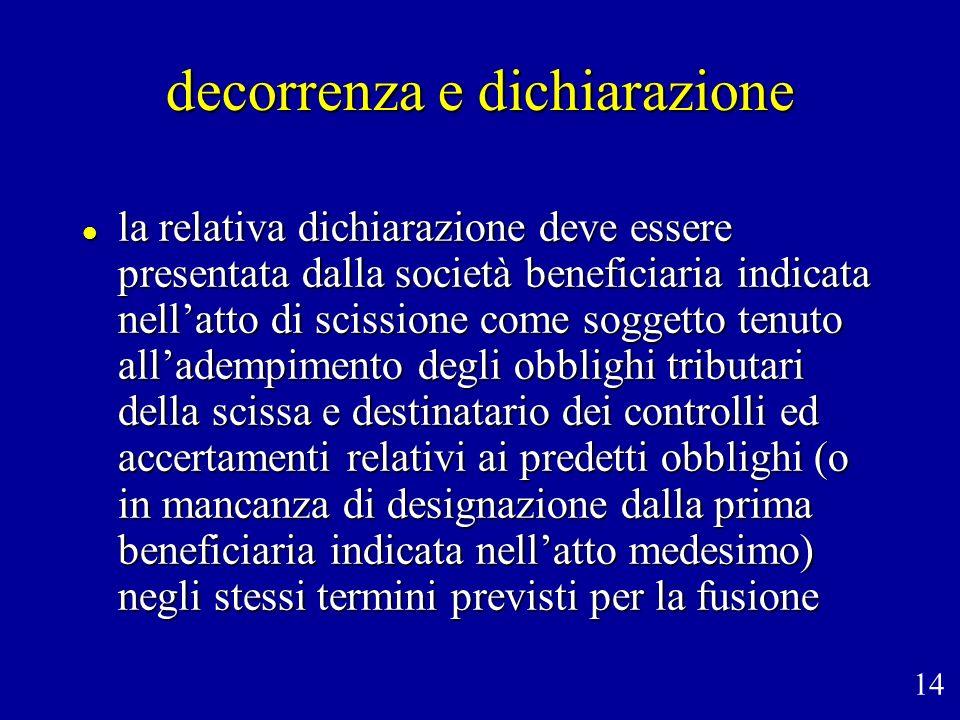 decorrenza e dichiarazione la relativa dichiarazione deve essere presentata dalla società beneficiaria indicata nellatto di scissione come soggetto te