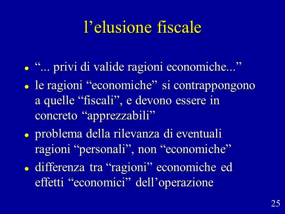 lelusione fiscale... privi di valide ragioni economiche...... privi di valide ragioni economiche... le ragioni economiche si contrappongono a quelle f