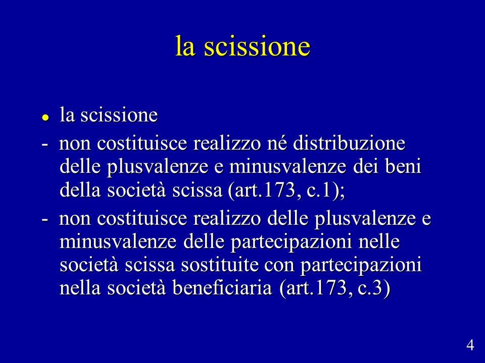 la scissione la scissione la scissione - non costituisce realizzo né distribuzione delle plusvalenze e minusvalenze dei beni della società scissa (art
