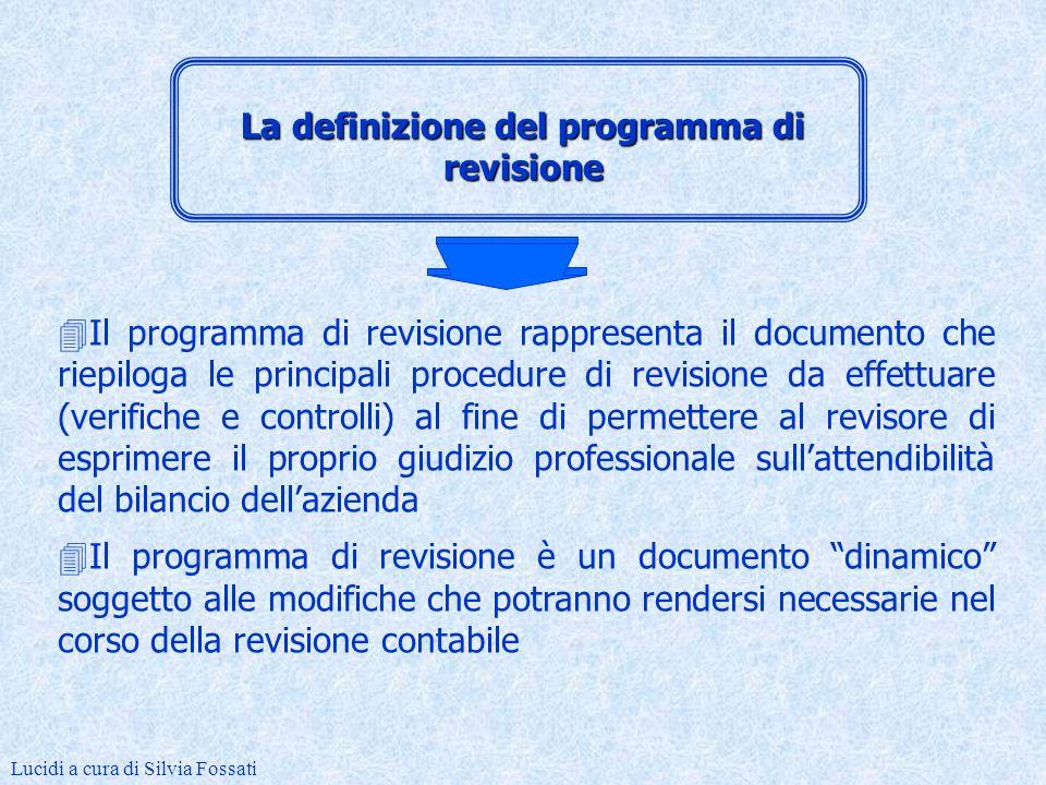 Docente: Prof.ssa Silvia Fossati Lucidi a cura di Silvia Fossati Gli strumenti operativi nellattività di revisione