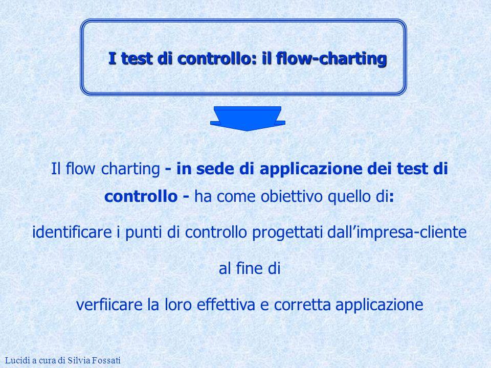 Il flow charting è utilizzato in sede di valutazione del sistema di controllo interno al fine di identificare i controlli progettati dallimpresa e valutarne la loro efficacia Lucidi a cura di Silvia Fossati I test di controllo: il flow-charting