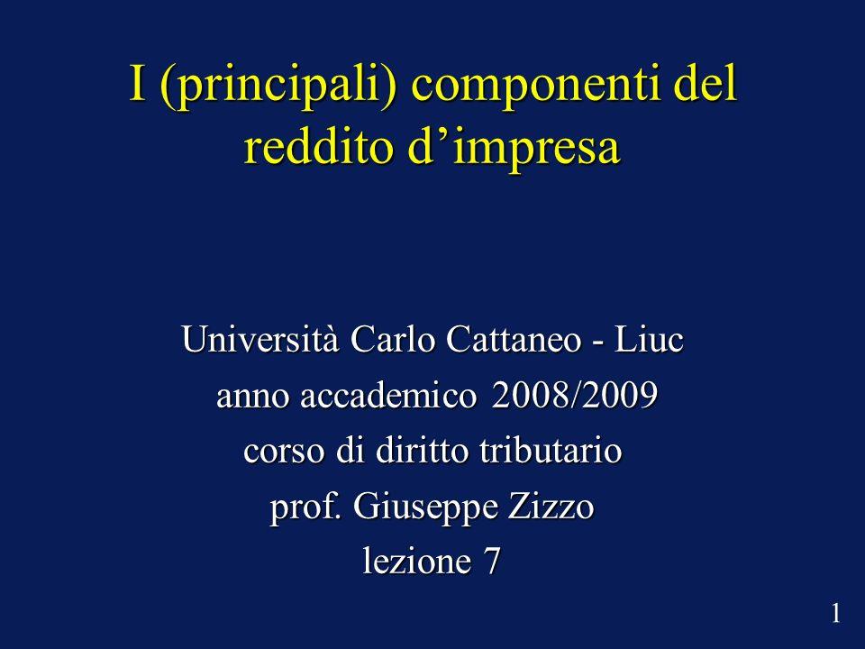 I (principali) componenti del reddito dimpresa Università Carlo Cattaneo - Liuc anno accademico 2008/2009 anno accademico 2008/2009 corso di diritto tributario prof.