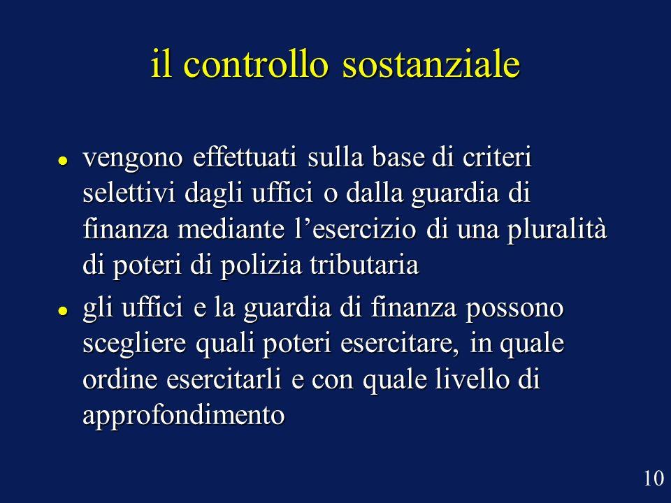 il controllo sostanziale vengono effettuati sulla base di criteri selettivi dagli uffici o dalla guardia di finanza mediante lesercizio di una plurali