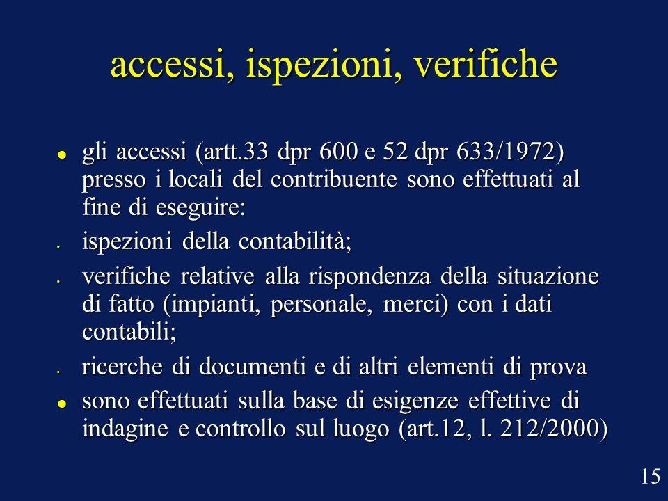 accessi, ispezioni, verifiche gli accessi (artt.33 dpr 600 e 52 dpr 633/1972) presso i locali del contribuente sono effettuati al fine di eseguire: gl