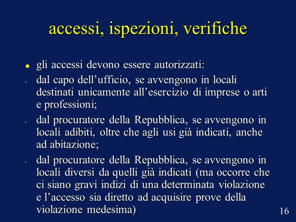 accessi, ispezioni, verifiche gli accessi devono essere autorizzati: gli accessi devono essere autorizzati: dal capo dellufficio, se avvengono in loca