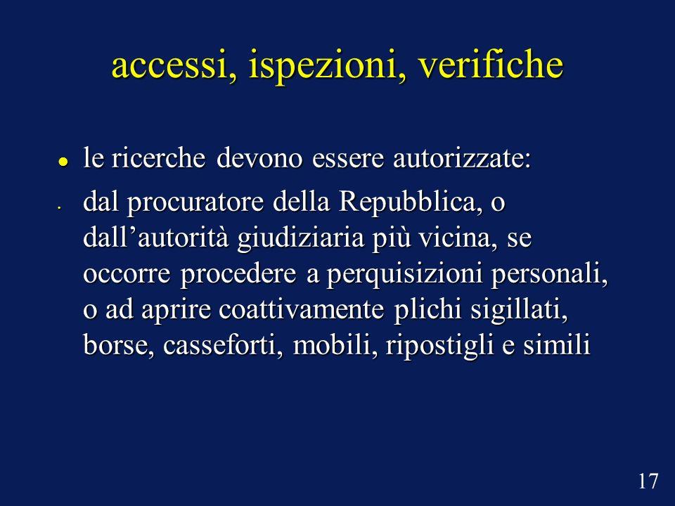 accessi, ispezioni, verifiche le ricerche devono essere autorizzate: le ricerche devono essere autorizzate: dal procuratore della Repubblica, o dallau