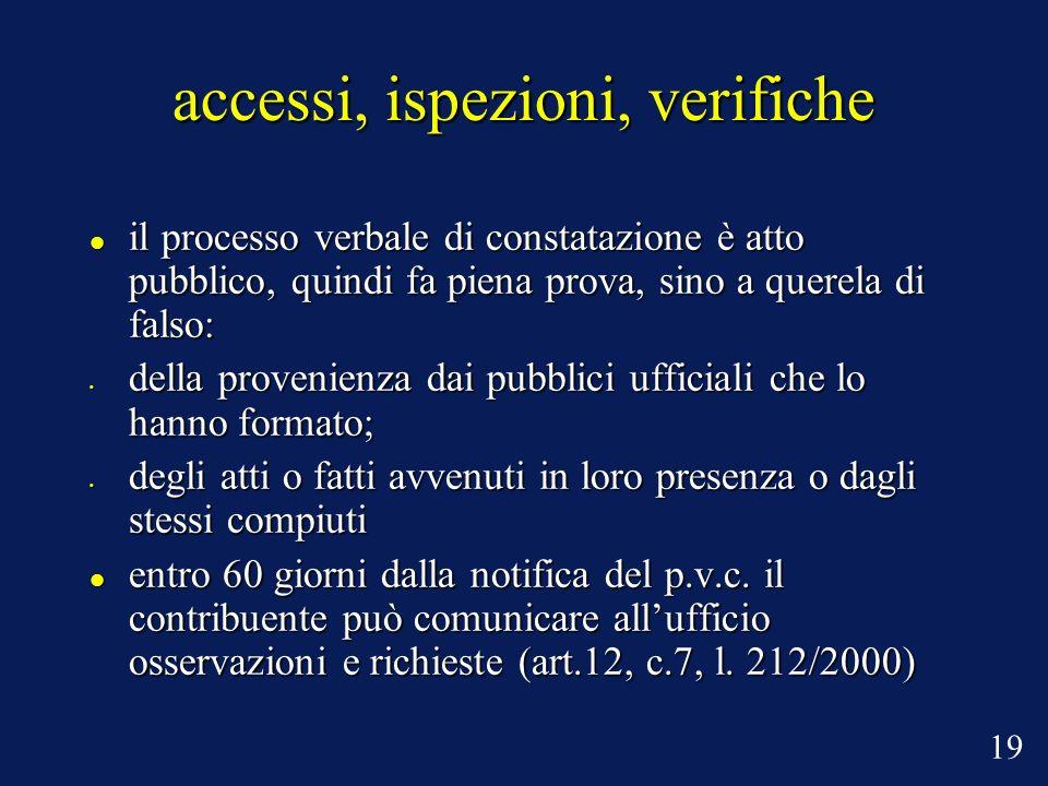 accessi, ispezioni, verifiche il processo verbale di constatazione è atto pubblico, quindi fa piena prova, sino a querela di falso: il processo verbal