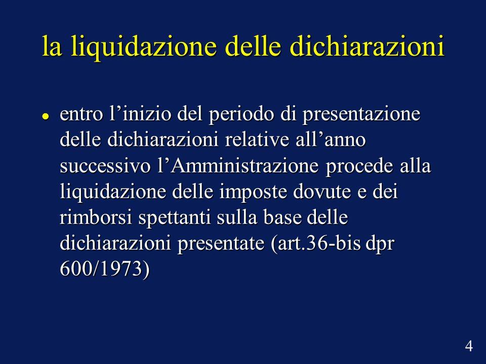 la liquidazione delle dichiarazioni entro linizio del periodo di presentazione delle dichiarazioni relative allanno successivo lAmministrazione proced