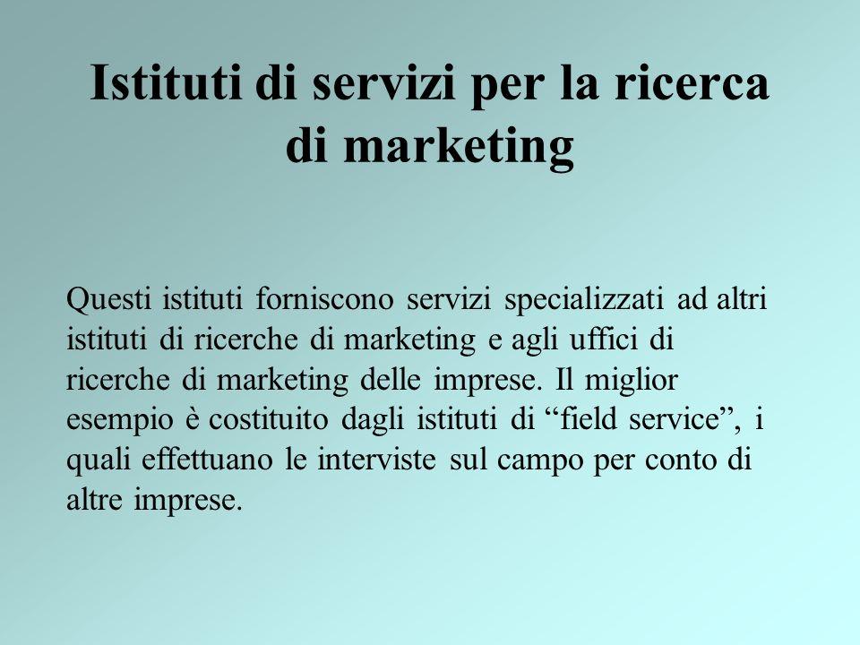 Istituti di servizi per la ricerca di marketing Questi istituti forniscono servizi specializzati ad altri istituti di ricerche di marketing e agli uff