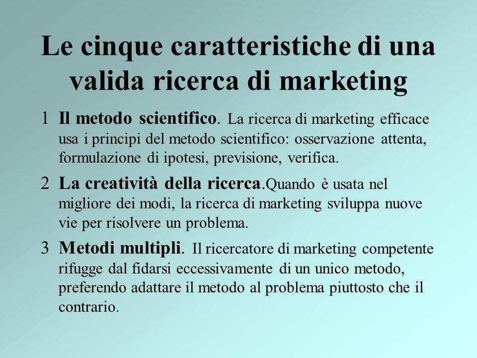 Le cinque caratteristiche di una valida ricerca di marketing 1Il metodo scientifico. La ricerca di marketing efficace usa i principi del metodo scient