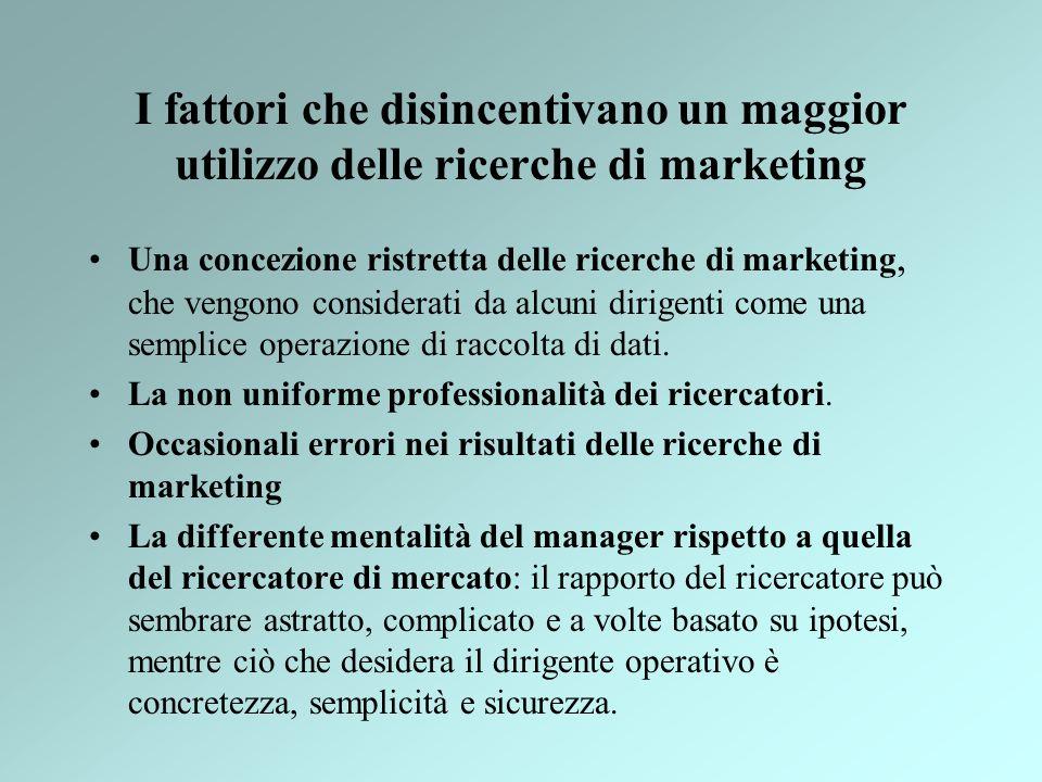 I fattori che disincentivano un maggior utilizzo delle ricerche di marketing Una concezione ristretta delle ricerche di marketing, che vengono conside
