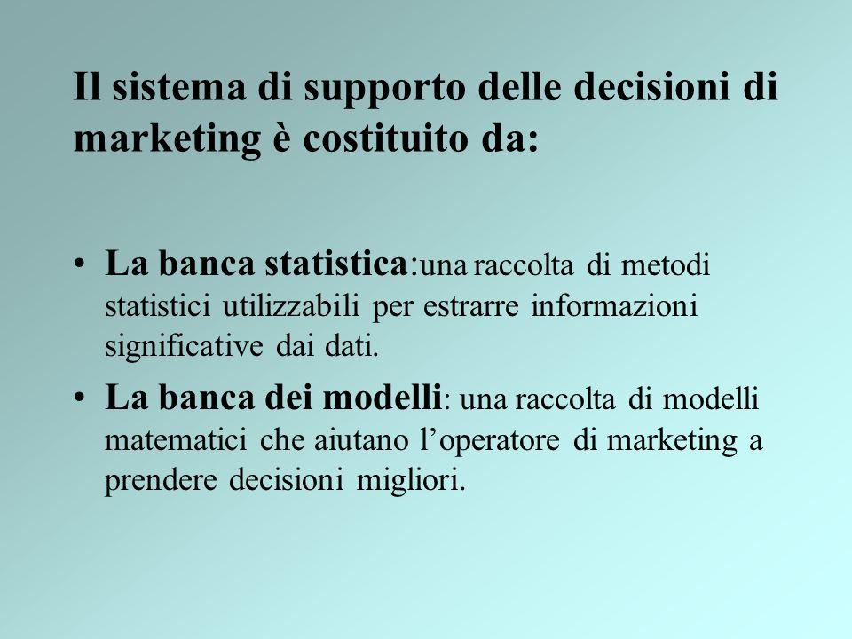 Il sistema di supporto delle decisioni di marketing è costituito da: La banca statistica: una raccolta di metodi statistici utilizzabili per estrarre