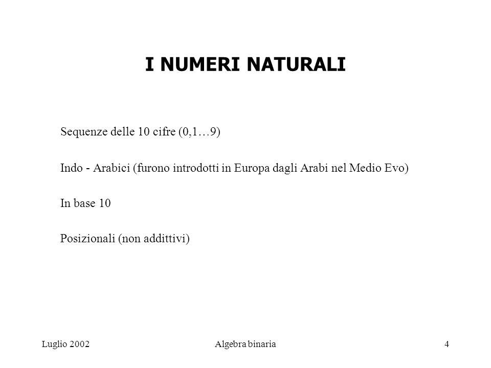 Luglio 2002Algebra binaria4 I NUMERI NATURALI Sequenze delle 10 cifre (0,1…9) Indo - Arabici (furono introdotti in Europa dagli Arabi nel Medio Evo) In base 10 Posizionali (non addittivi)