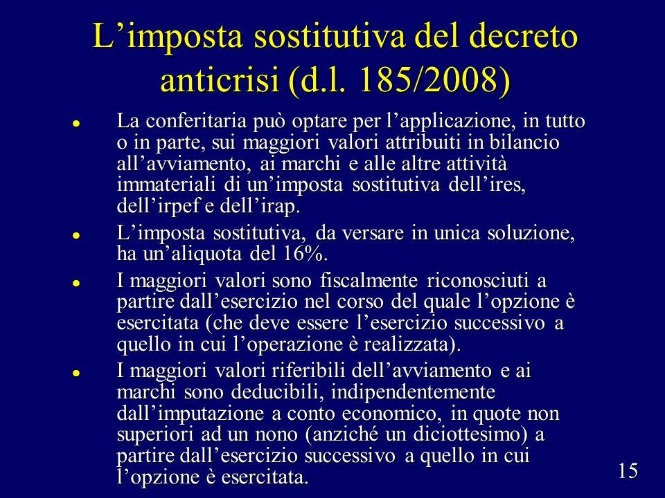 Limposta sostitutiva del decreto anticrisi (d.l.