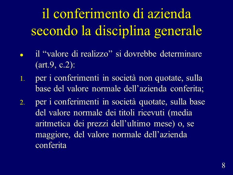 il conferimento di azienda secondo la disciplina generale il valore di realizzo si dovrebbe determinare (art.9, c.2): il valore di realizzo si dovrebbe determinare (art.9, c.2): 1.
