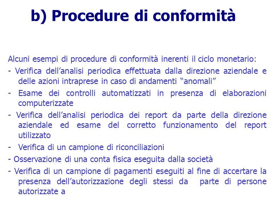 Alcuni esempi di procedure di conformità inerenti il ciclo monetario: - Verifica dellanalisi periodica effettuata dalla direzione aziendale e delle az