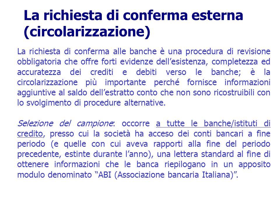 La richiesta di conferma alle banche è una procedura di revisione obbligatoria che offre forti evidenze dellesistenza, completezza ed accuratezza dei