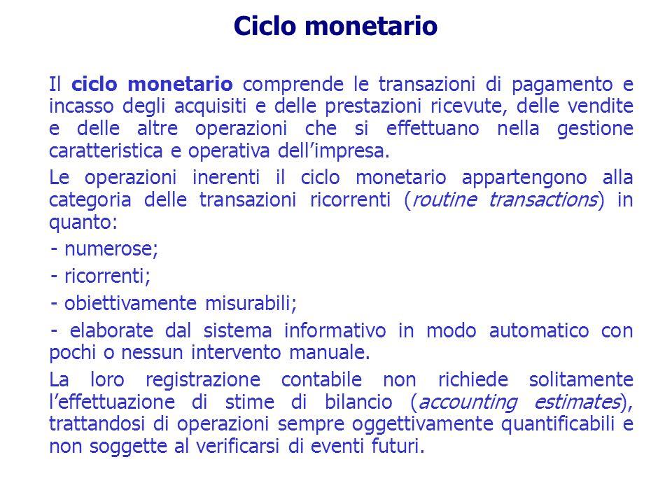 Ciclo monetario Il ciclo monetario comprende le transazioni di pagamento e incasso degli acquisiti e delle prestazioni ricevute, delle vendite e delle