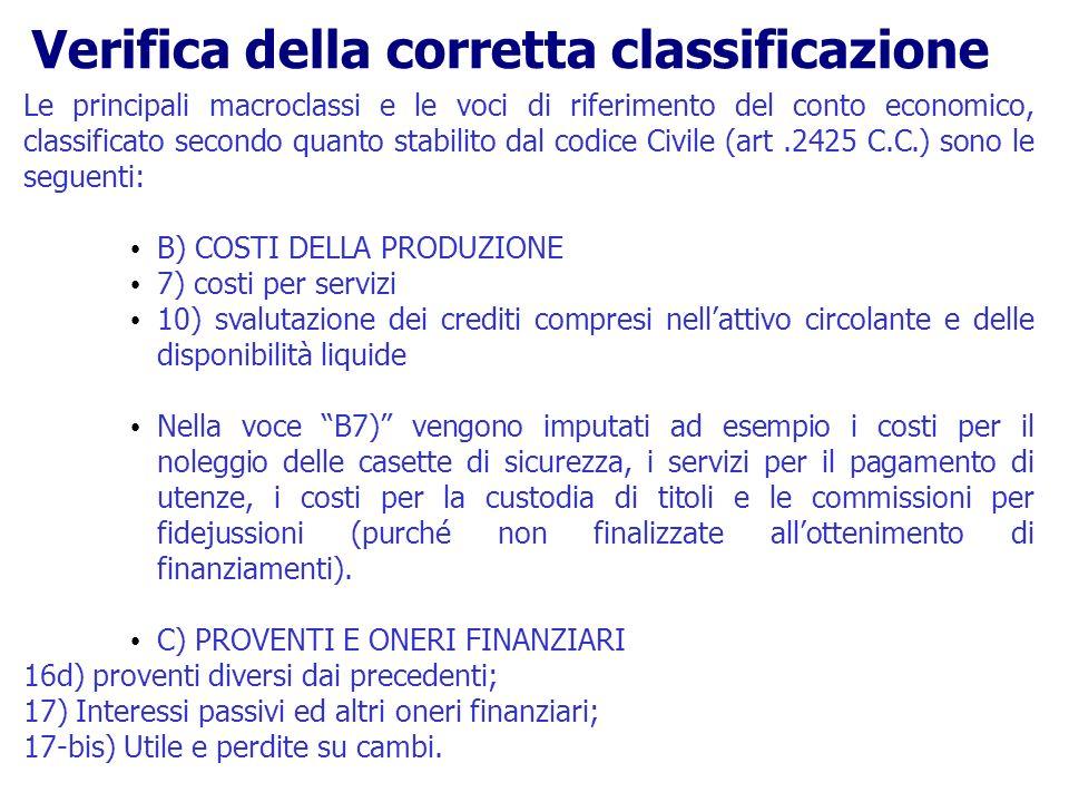 Le principali macroclassi e le voci di riferimento del conto economico, classificato secondo quanto stabilito dal codice Civile (art.2425 C.C.) sono l