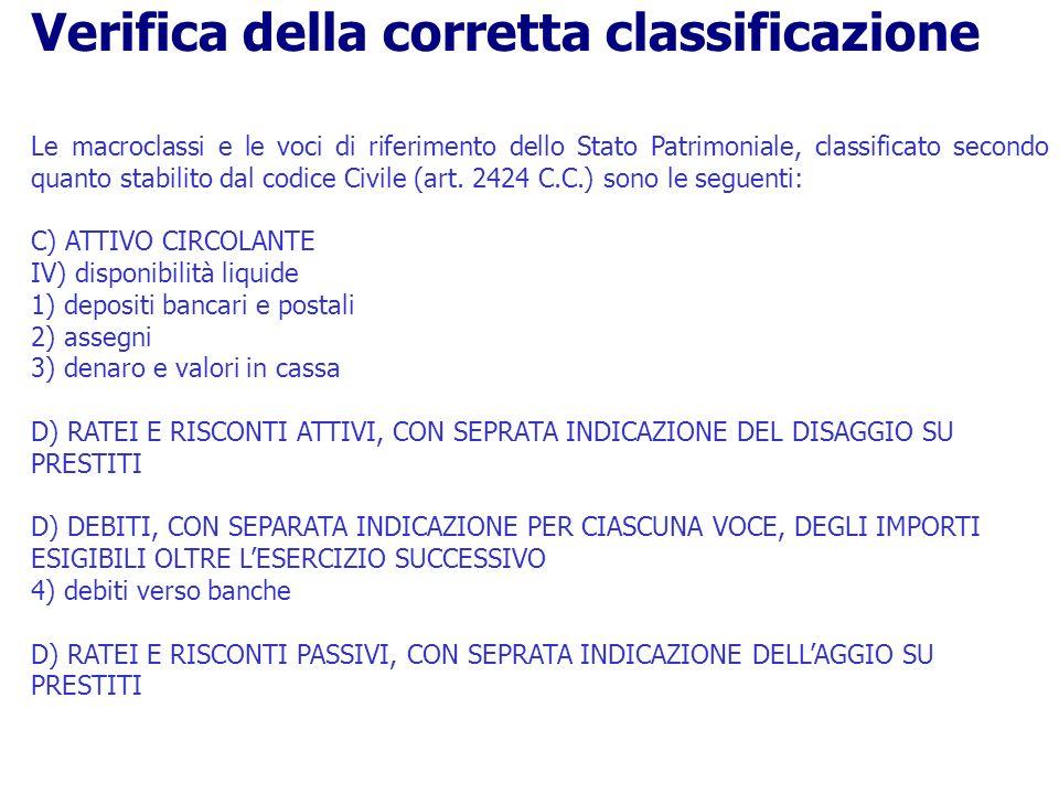 Le macroclassi e le voci di riferimento dello Stato Patrimoniale, classificato secondo quanto stabilito dal codice Civile (art. 2424 C.C.) sono le seg