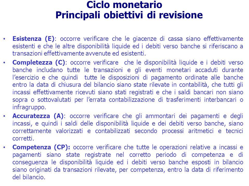 Le principali procedure di dettaglio sui saldi di bilancio relative al ciclo monetario sono: - la richiesta di conferma esterna alle banche (circolarizzazione); - la rilevazione fisica dei beni (conta di cassa); - le verifiche di cut-off degli incassi, dei pagamenti e dei trasferimenti bancari; - la verifica della corretta classificazione e presentazione in bilancio; - la verifica della corretta e completa presentazione in bilancio delle informazioni che devono essere fornite, secondo la normativa di riferimento.