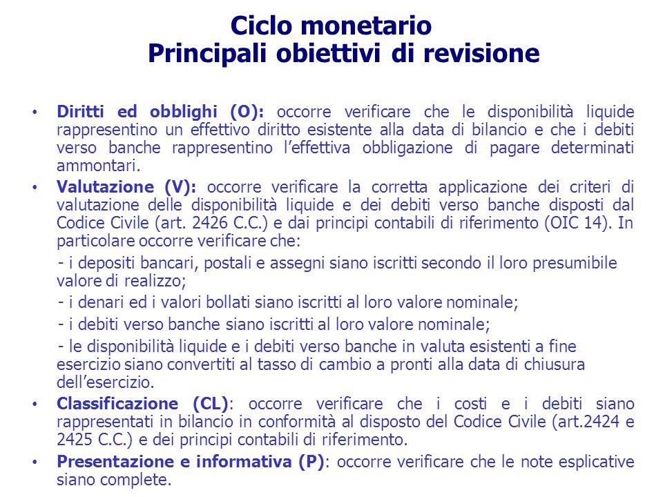 Ciclo monetario Principali obiettivi di revisione Diritti ed obblighi (O): occorre verificare che le disponibilità liquide rappresentino un effettivo