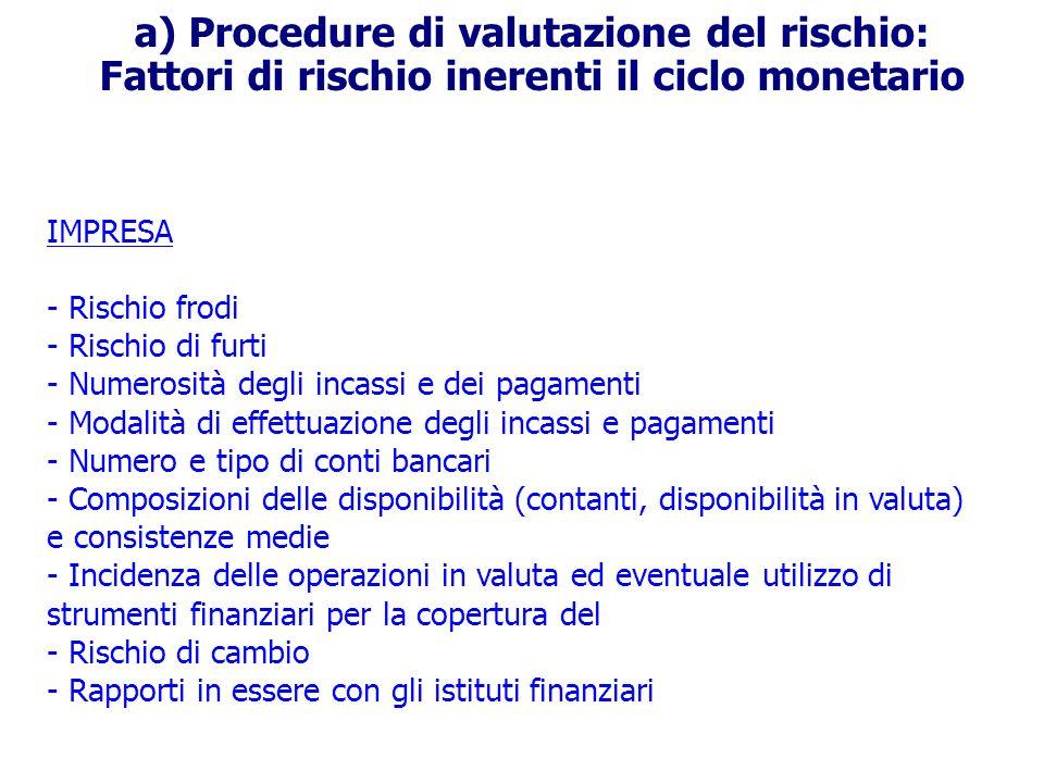 a) Procedure di valutazione del rischio: Fattori di rischio inerenti il ciclo monetario IMPRESA - Rischio frodi - Rischio di furti - Numerosità degli