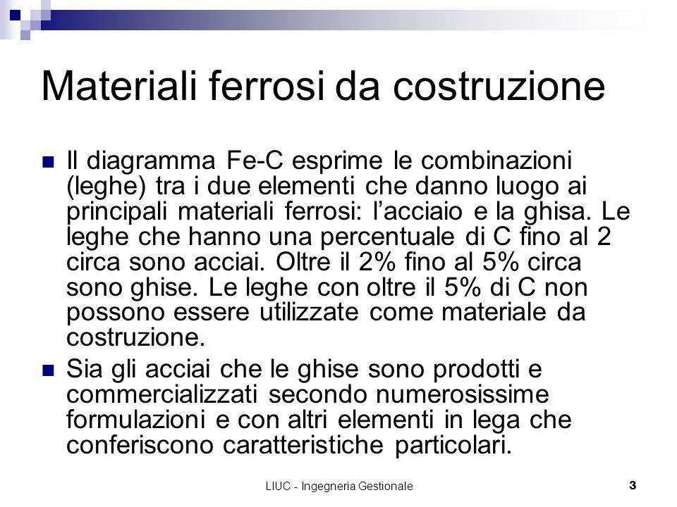 LIUC - Ingegneria Gestionale3 Materiali ferrosi da costruzione Il diagramma Fe-C esprime le combinazioni (leghe) tra i due elementi che danno luogo ai