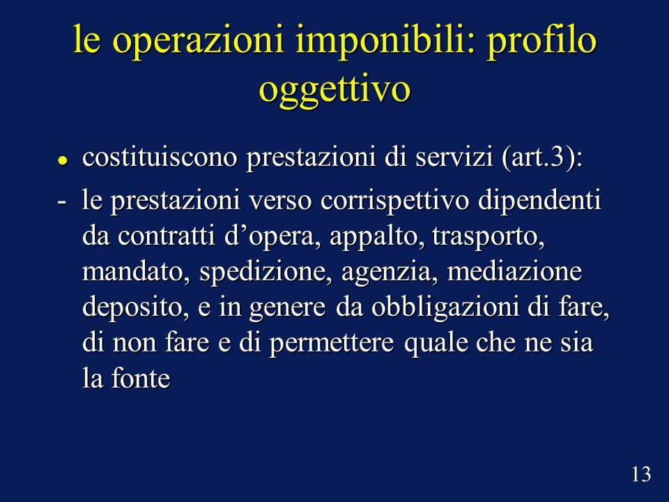 le operazioni imponibili: profilo oggettivo costituiscono prestazioni di servizi (art.3): costituiscono prestazioni di servizi (art.3): - le prestazio