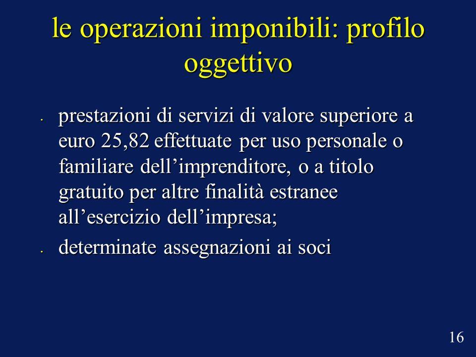 le operazioni imponibili: profilo oggettivo prestazioni di servizi di valore superiore a euro 25,82 effettuate per uso personale o familiare dellimpre