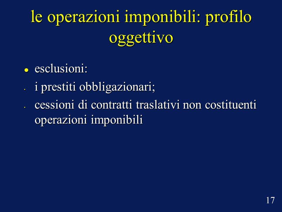 le operazioni imponibili: profilo oggettivo esclusioni: esclusioni: i prestiti obbligazionari; i prestiti obbligazionari; cessioni di contratti trasla