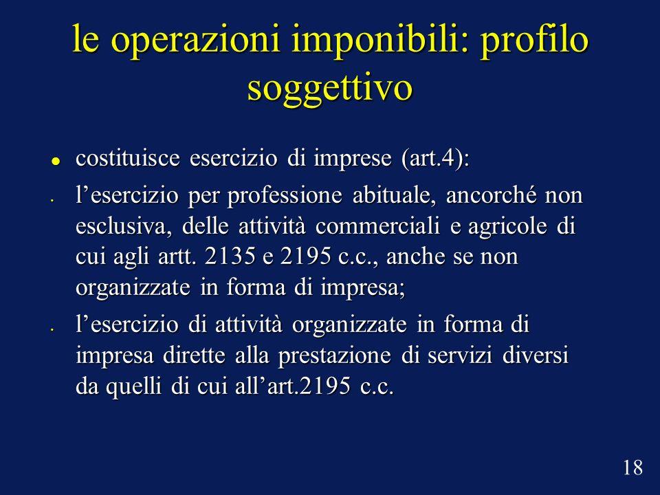 le operazioni imponibili: profilo soggettivo costituisce esercizio di imprese (art.4): costituisce esercizio di imprese (art.4): lesercizio per profes