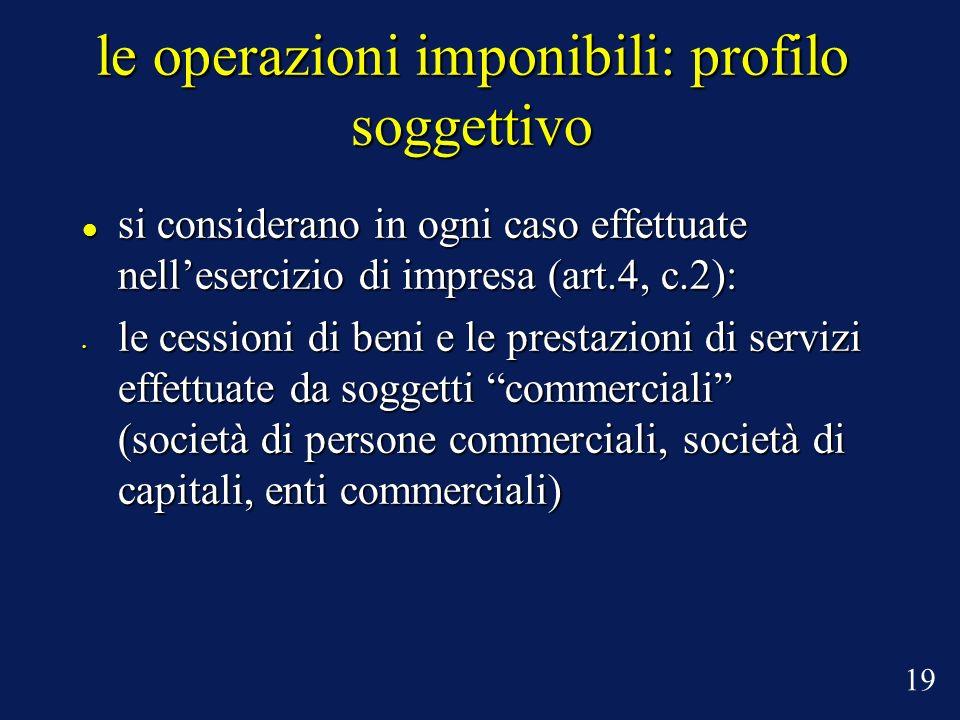 le operazioni imponibili: profilo soggettivo si considerano in ogni caso effettuate nellesercizio di impresa (art.4, c.2): si considerano in ogni caso