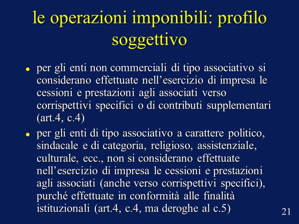 le operazioni imponibili: profilo soggettivo per gli enti non commerciali di tipo associativo si considerano effettuate nellesercizio di impresa le ce