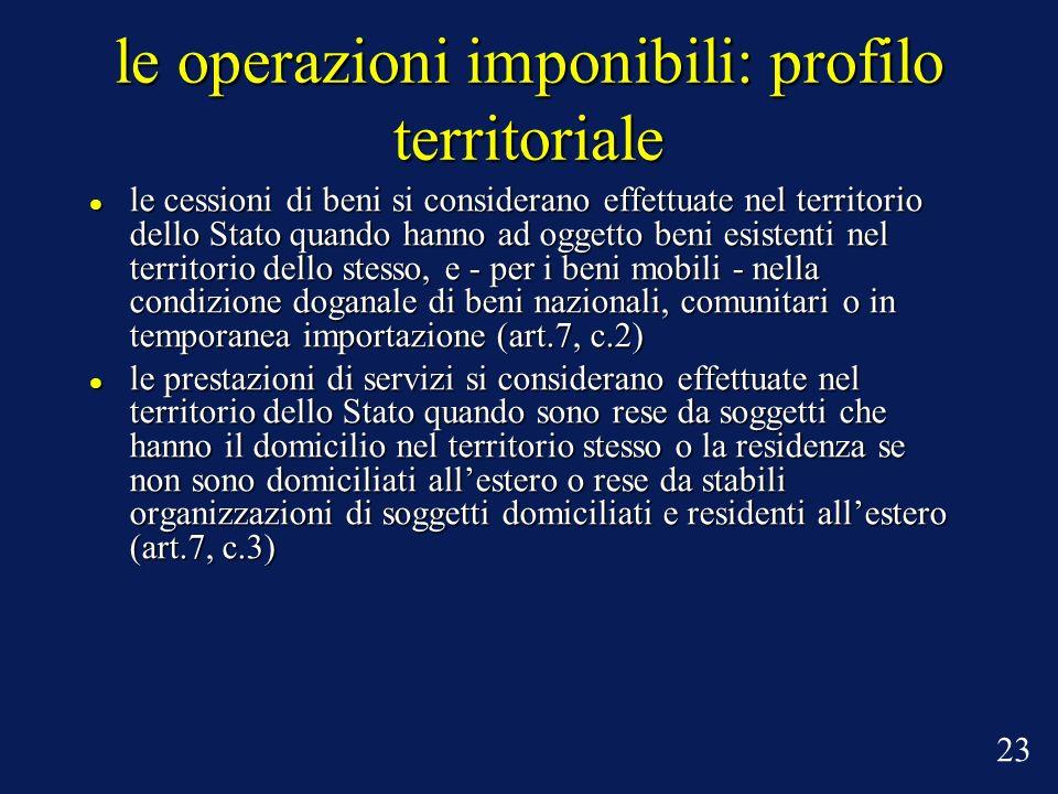 le operazioni imponibili: profilo territoriale le cessioni di beni si considerano effettuate nel territorio dello Stato quando hanno ad oggetto beni e