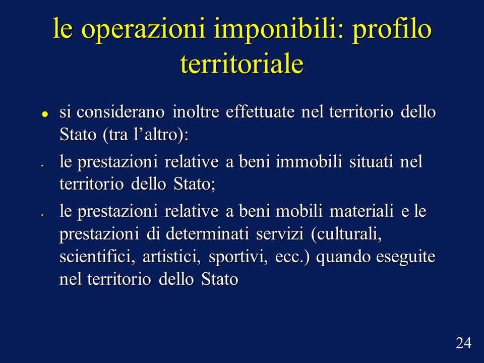 le operazioni imponibili: profilo territoriale si considerano inoltre effettuate nel territorio dello Stato (tra laltro): si considerano inoltre effet