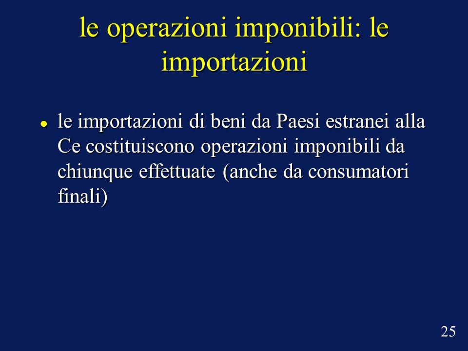 le operazioni imponibili: le importazioni le importazioni di beni da Paesi estranei alla Ce costituiscono operazioni imponibili da chiunque effettuate