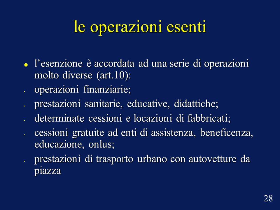 le operazioni esenti lesenzione è accordata ad una serie di operazioni molto diverse (art.10): lesenzione è accordata ad una serie di operazioni molto
