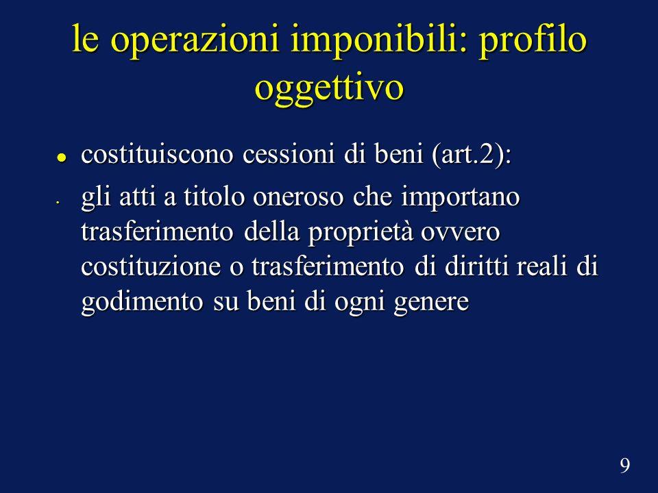 le operazioni imponibili: profilo oggettivo costituiscono cessioni di beni (art.2): costituiscono cessioni di beni (art.2): gli atti a titolo oneroso