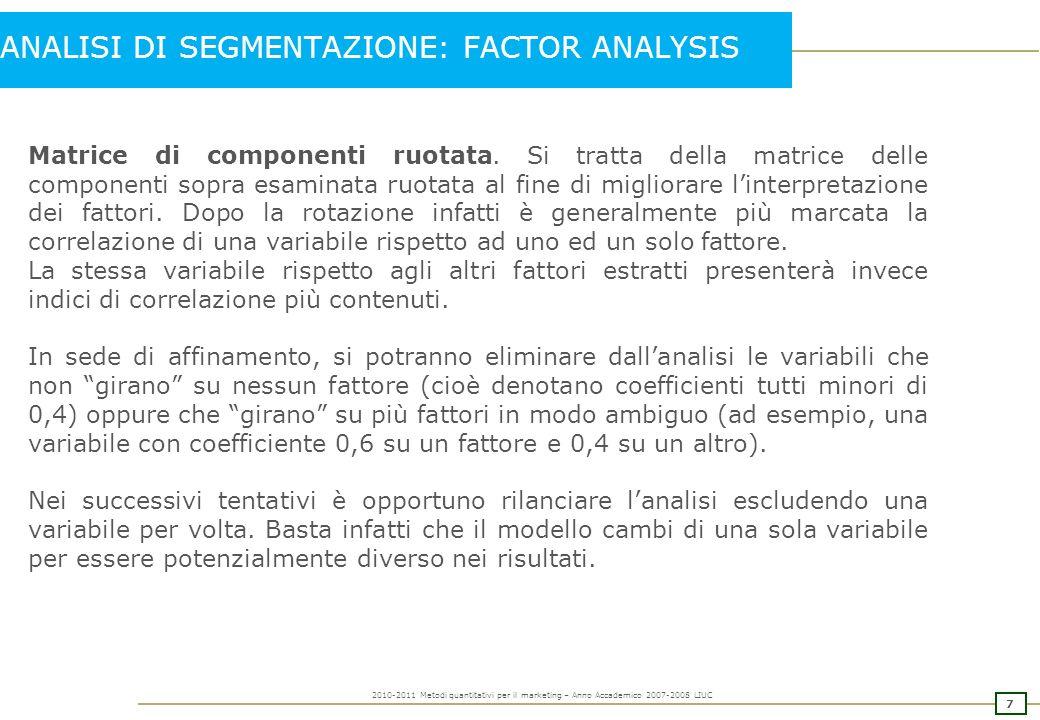 6 2010-2011 Metodi quantitativi per il marketing – Anno Accademico 2007-2008 LIUC Matrice di componenti.