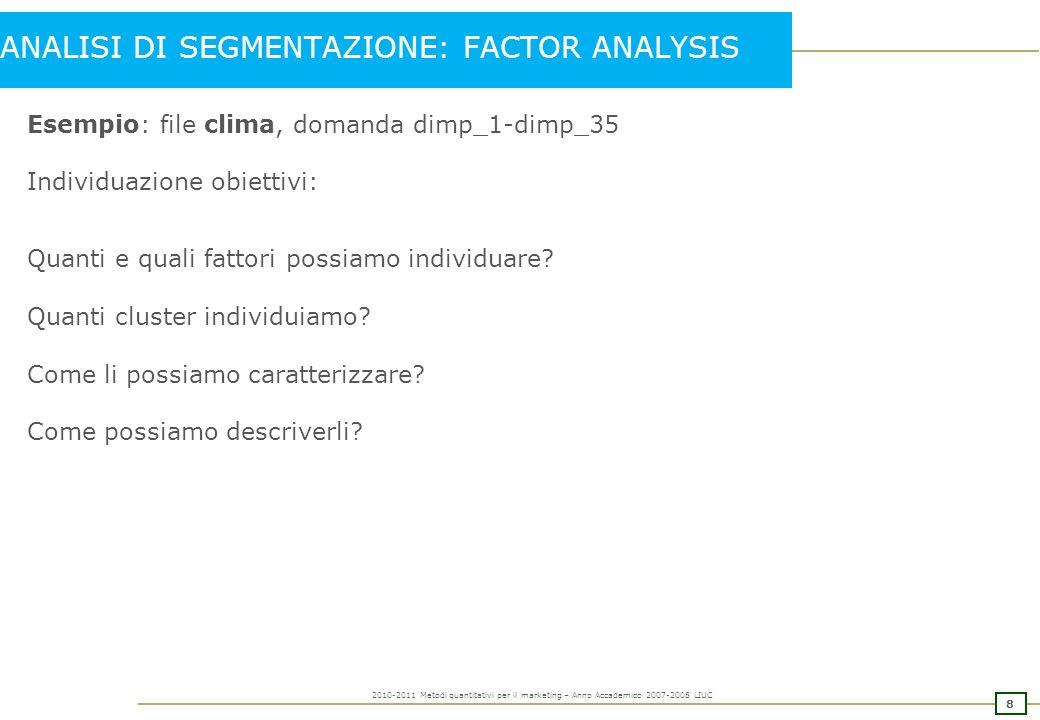 7 2010-2011 Metodi quantitativi per il marketing – Anno Accademico 2007-2008 LIUC Matrice di componenti ruotata.