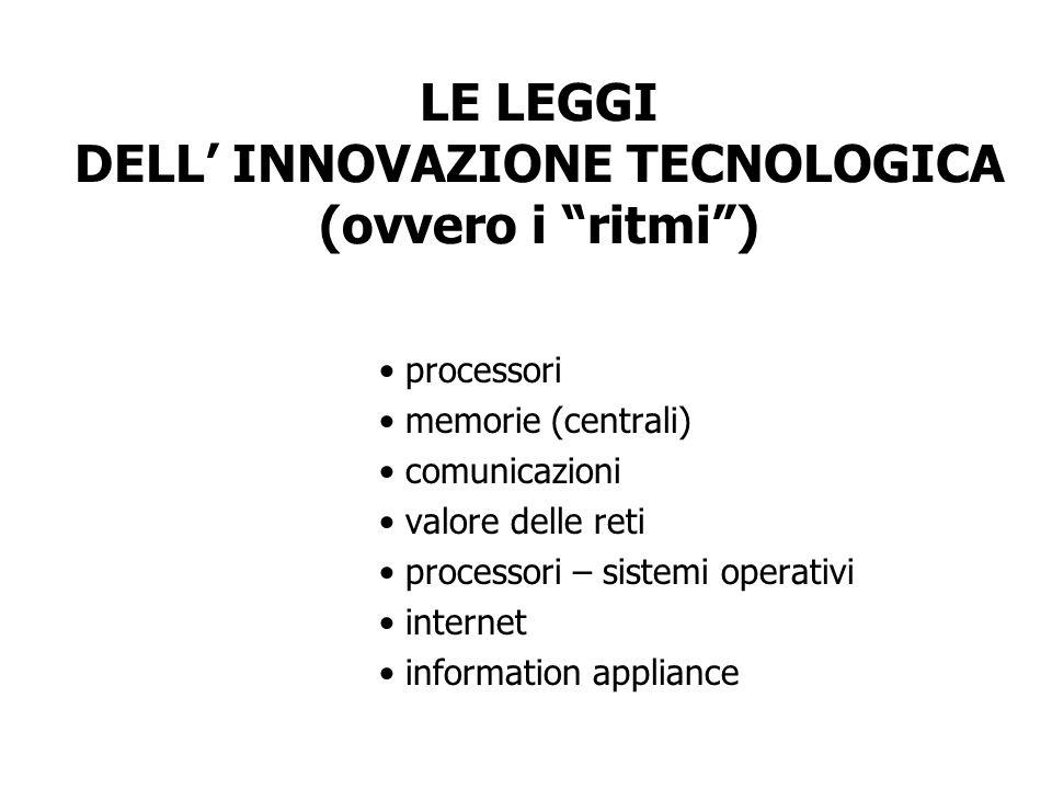 LE LEGGI DELL INNOVAZIONE TECNOLOGICA (ovvero i ritmi) processori memorie (centrali) comunicazioni valore delle reti processori – sistemi operativi in