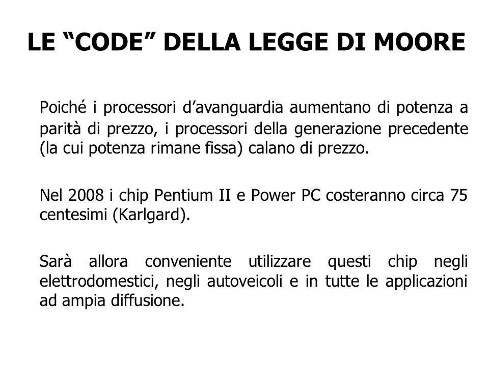 LE CODE DELLA LEGGE DI MOORE Poiché i processori davanguardia aumentano di potenza a parità di prezzo, i processori della generazione precedente (la c